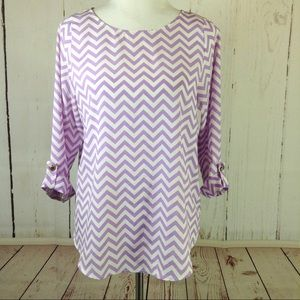 Everly Purple White Chevron Print Shirt Medium